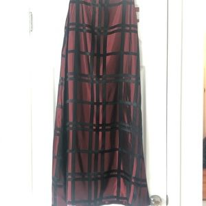 JS Collection metallic red w/ black maxi skirt